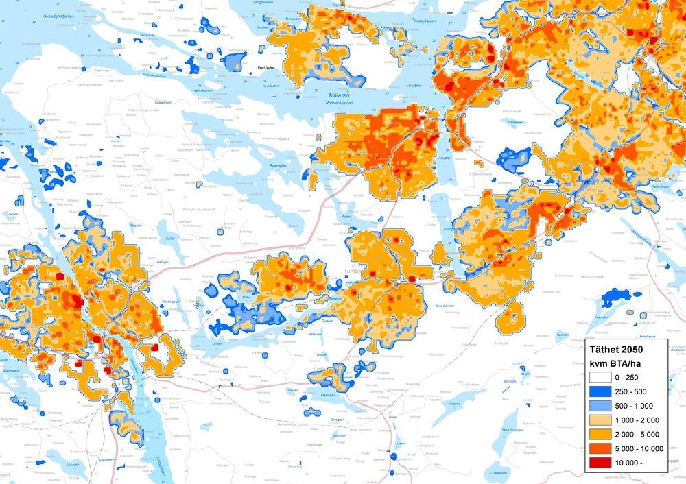 Bebyggelsetäthet år 2050  i ett fiktivt urban sprawl scenario.