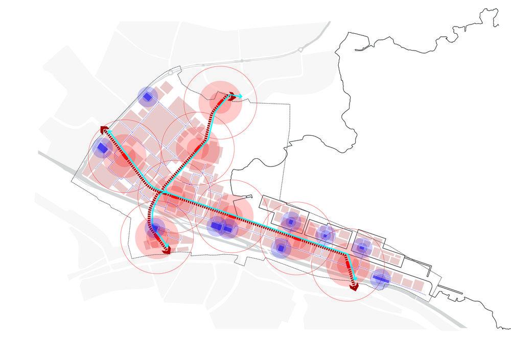 Diagram för de två korsande innovationskorridorerna.