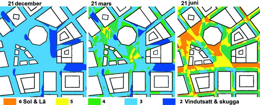 Mikroklimatkartor för vintersolstånd, vårdagjämning och sommarsolstånd.