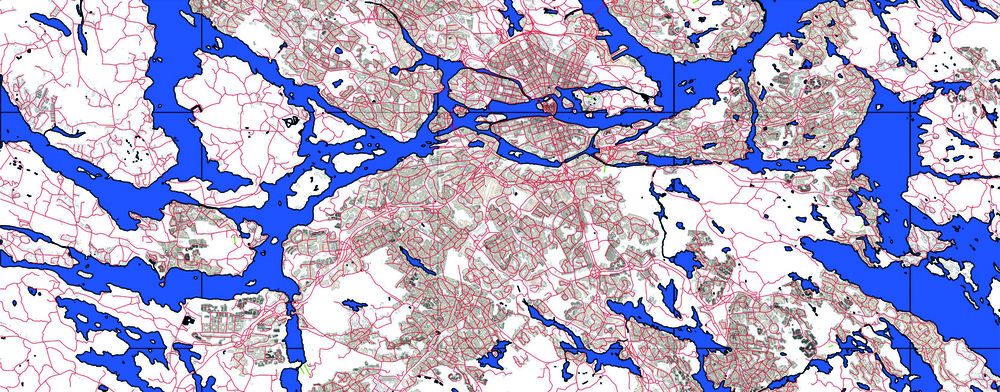 The network of urban space in the Stockholm area, copyright Lantmäteriet