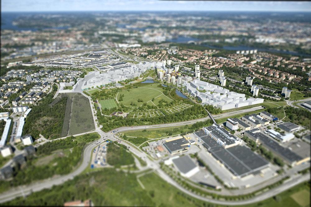 Perspektiv från sydost över Årstafältet med den föreslagna bebyggelsen.