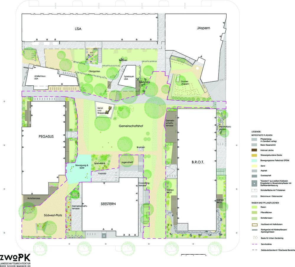 Kvarteret 13 i Seestadt Aspern med fem olika bogemenskaper. Gemensamma kök och lokaler co-working, elastiska lägenheter, låg energianvändning och mycket vardagsgemenskap (landskapsarkitekt för all yttre miljö zwoPK Landschaftsarchitektur).