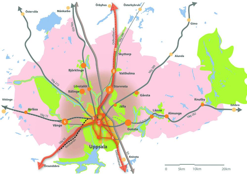 Strukturbild för hela kommunen 2050+. Bilden visar den övergripande strukturen med viktiga noder, stråk, prioriterade tätorter, landsbygden, stadens omland och grönområden.