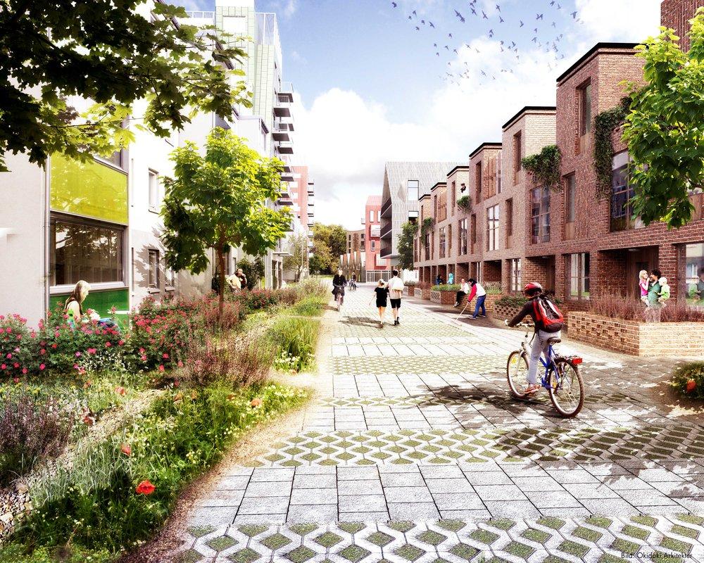 Perspektiv över ny inre lokalgata väster om Litteraturgatan. Illustration: Okidoki! Arkitekter