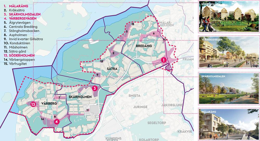 Översiktskarta med pågående detaljplaner i stadsdelsområdet med de fyra planer på gemensamt samråd rosamarkerat.