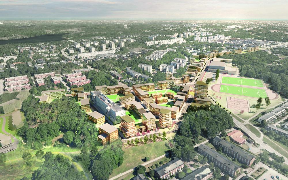 Visionsbild för Vårgbergsvägen. Nu samlad bebyggelse längs Vårbergsvägen och kring Vårbergs sjukhem. Illustration Tovatt Architects & planners.