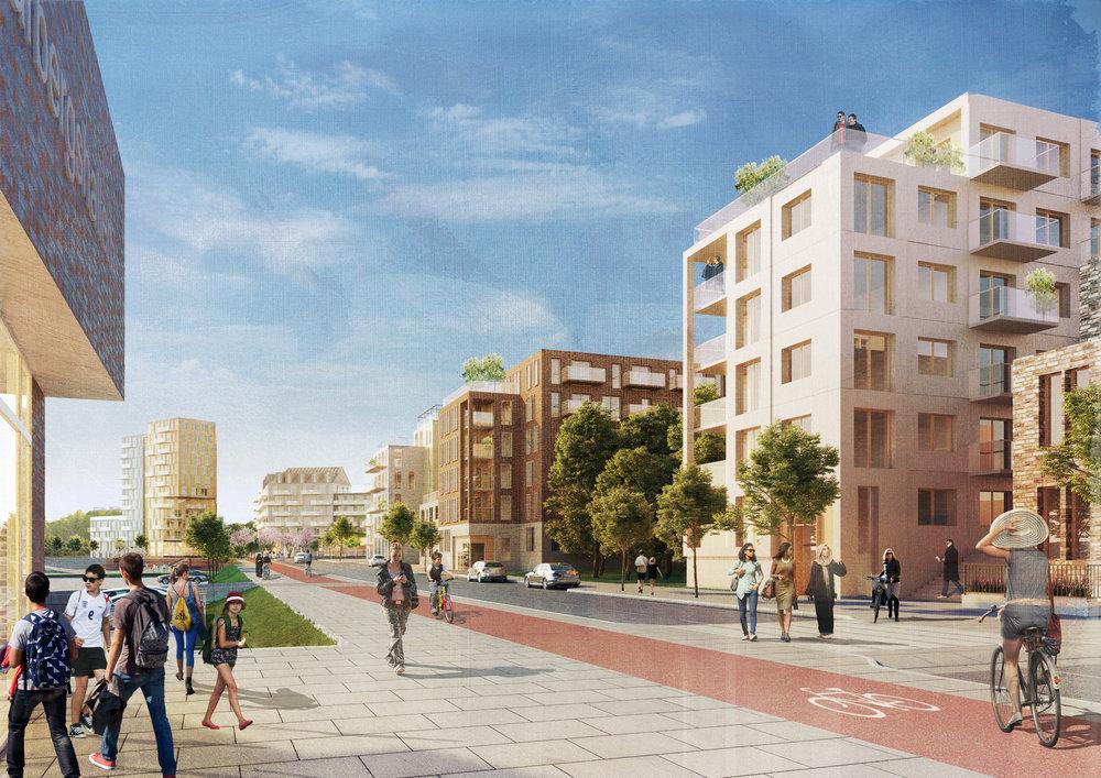Konceptbild för framtida Vårbergsvägen.Illustration Tovatt. Architects & planners