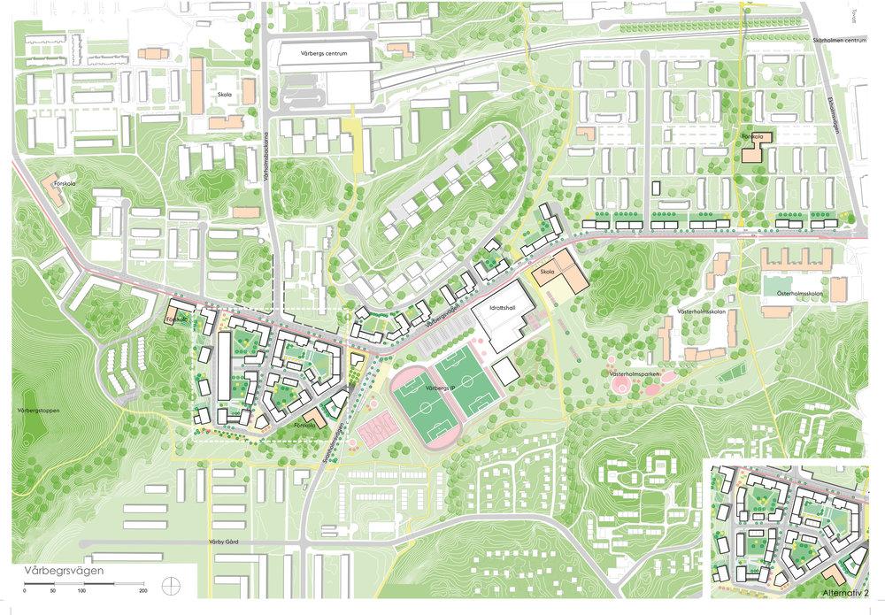 Illustrationsplan för Detaljplan Vårbergsvägen. Illustration Tovatt Architects & planners