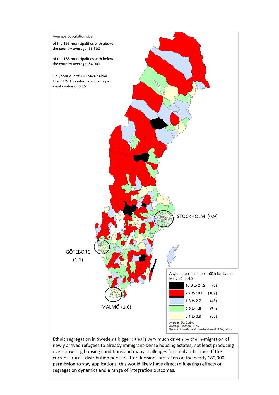 Asylsökande per kommuninvånare i Sveriges kommuner, 1 mars 2016.