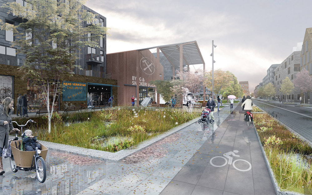 Productive typology creates a new streetscape with makers' spaces along the public space.
