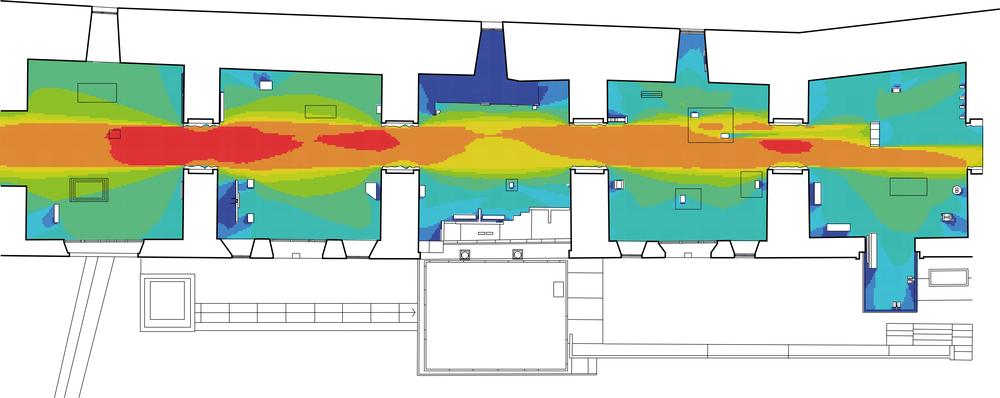"""Illustration 2. Den andra formen i byggnader. Liksom vi kan avlocka en andra form från den första formen hos städer kan vi göra det hos byggnader. Ovan ser vi en beskrivning av planformen hos Museo di Castelvecchio i Verona, där denna brutits ned till pixlar där varje pixels synlighet från varje annan pixel redovisas i en färgskala där de mest synliga går mot rött och de minst synliga mot blått. Återigen är det fråga om relationer mellan olika lägen i rummet som inte är omedelbart synligt på en planritning men som ändå är en ofrånkomlig konsekvens av arkitektonisk form.  Den starka visuella lineariteten mellan dessa rum och de ganska dramatiska skillnaderna mellan rummen i detta avseende är inte direkt synligt i planritningen (den första formen), men framträder här med stor klarhet (den andra formen). I detta fall är detta något givet som ger specifika förutsättningar för utformningen av en utställning, men vi inser också hur vi i närmast allt arkitektarbete formar arkitektoniska egenskaper av detta slag, men att vi egentligen inte har medierna att tillfullo fånga dem så att vi kan arbeta med dem med precision och därmed fullt ut ta ansvar för dem.  Denna inneboende egenskap hos den arkitektoniska formen kan användas på en rad olika sätt. I Castelvecchio ser vi hur det använts av Carlo Scarpa, om än intuitivt, för att placera skulpturer i utställningsrummen för att på olika sätt hantera deras inneboende uttryck. Man kan säga att exemplet från staden ovan mer handlade om att använda den andra formen för funktionella ändamål medan det här mer handlar om symboliska ändamål. Skulpturerna har naturligtvis ett starkt uttryck i sig själva men detta kan vidare hanteras genom en mer eller mindre synlig placering i utställningslokalerna, en egenskap hos dessa som framträder genom den andra formen. (Bild: Stavroulaki G, Peponis J, 2003, """"The spatial construction of seeing at Castelvecchio museum"""", Fourth International Space Syntax Symposium, University College London (ed. J. H"""