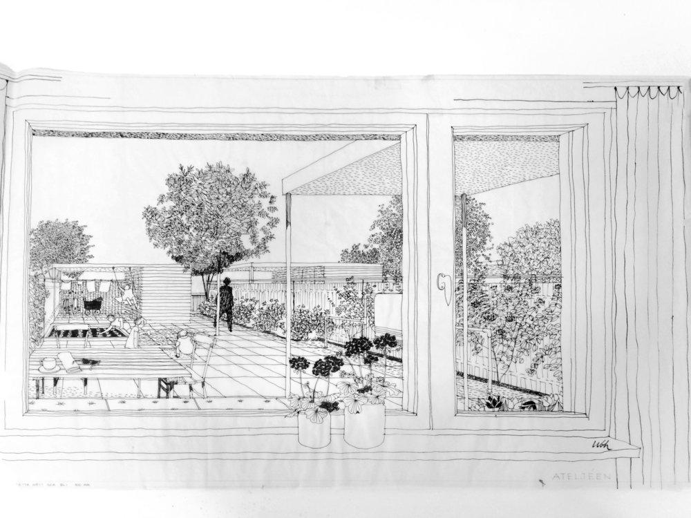 Skissperspektiv Brf Ateljén, Vällingby, från Origo-arkivet