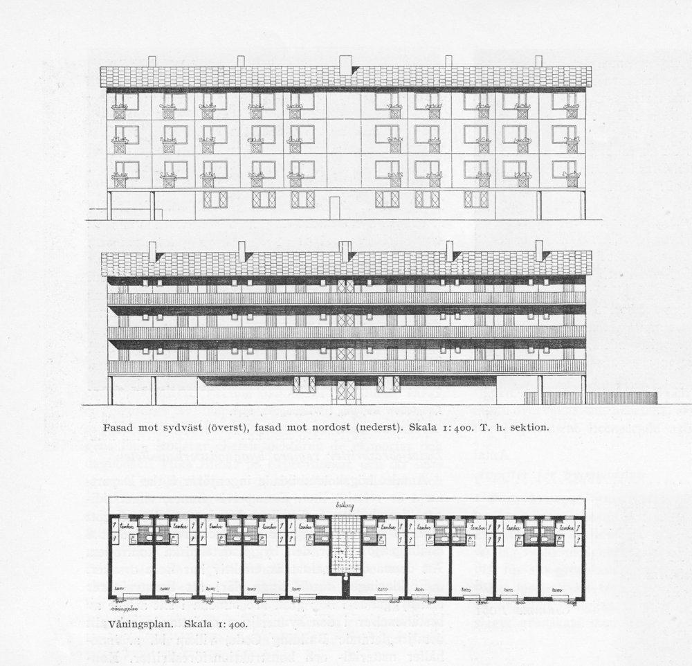 Bildtext: EPA-husen ritades av Gunnar Jacobson 1947 Ritningar publicerade i Byggmästaren 1948, reproducerade med tillstånd, tidskriften Arkitekten.