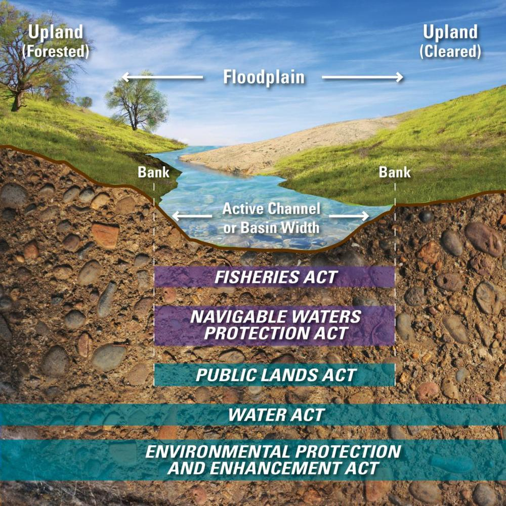 Figure 1. Illustrates legislation governing water and the beds and banks of a water body in Alberta