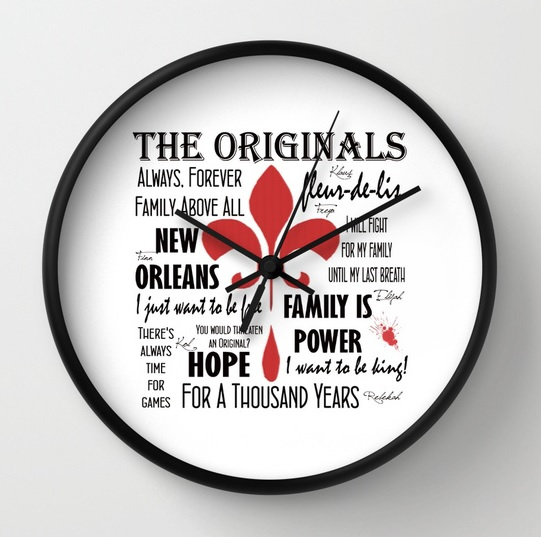 Originals inspired clock on white.
