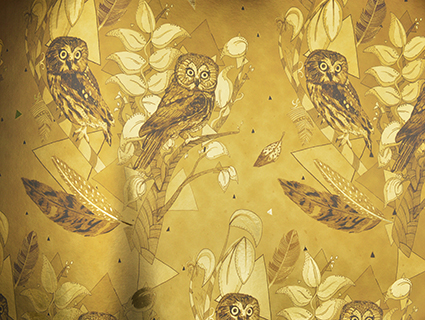 SD - Owls Sepia in Metallic Gold