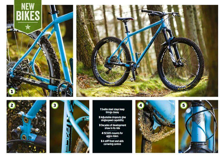 """ Sweetly detailed, muscularly surefooted hardcore hardtail that shrugs the slams without losing focused speed."" - Guy Kesteven, What Mountain Bike"