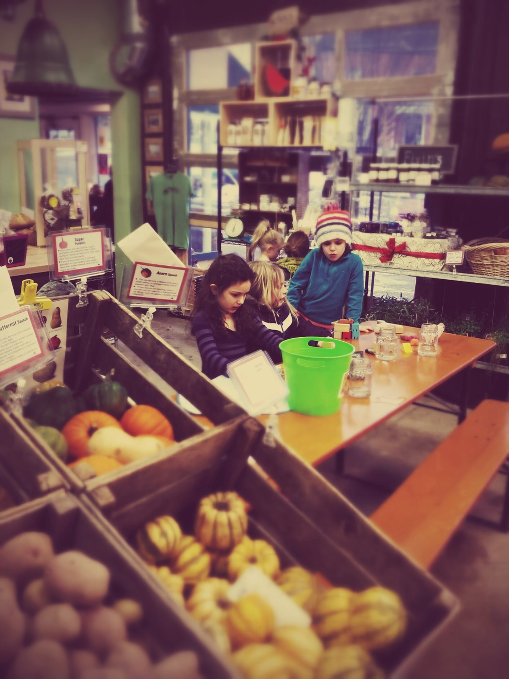 This is not your ordinary grocery. At Argus Farm, the people, farmers and food are all local. Here my daughter Jane plays with her friends Cora and Amelia. Living proof showing how local farm stops can build community and happiness.
