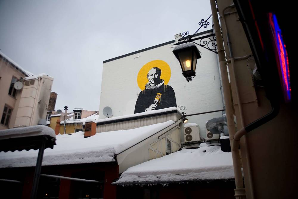 Seen from Strøget Alley in Central Oslo, Norwegian Street Artist Dolk makes his mark on a popular spot in town.