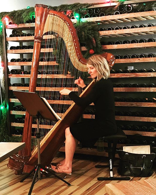Happy holidays! #harpmusic #willamettevalley #oregonwine #holidayparty #salviharps