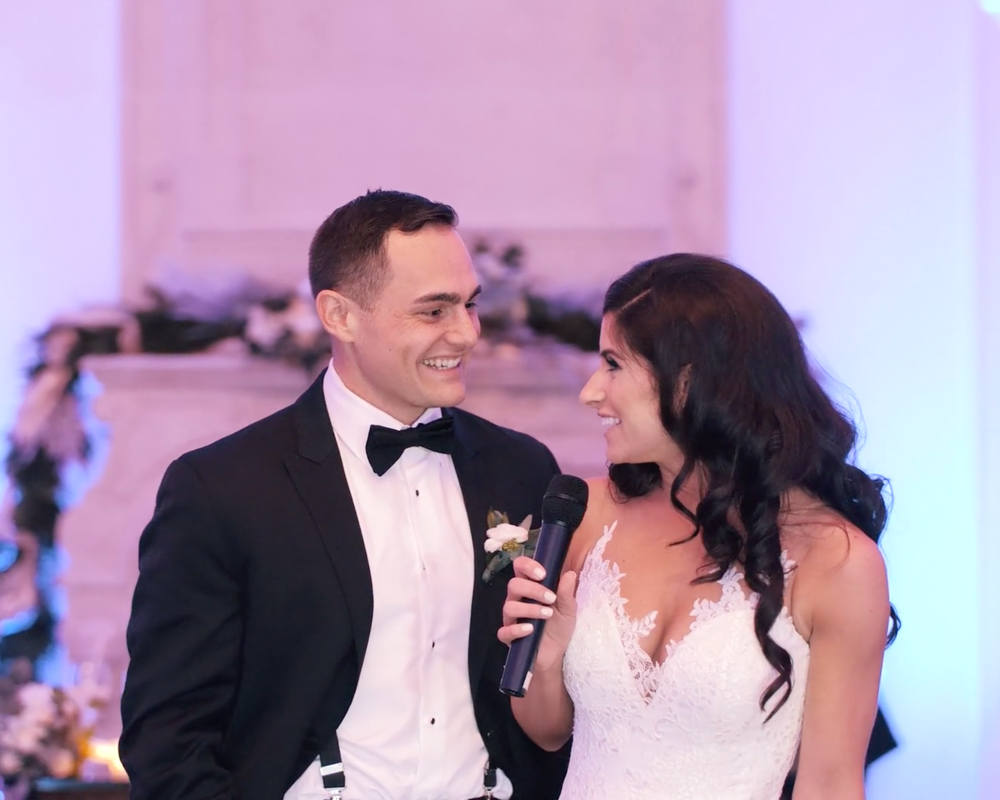 wedding thank you speech, couple thank you speech, bride and groom thank you speech, tonemedia, nj wedding videographers, bride and groom speech