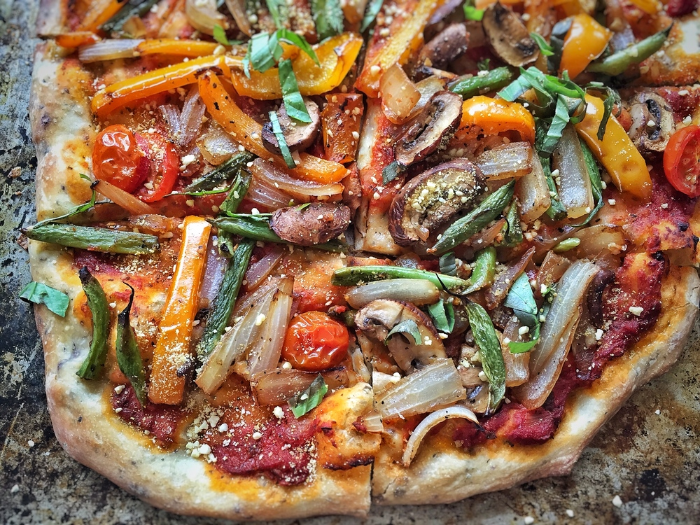 Veggie Pizza with Cashew Parmesan