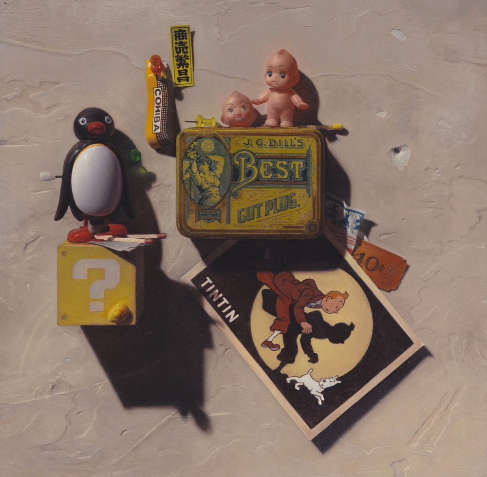 Samuel Hung,  Dill's Best & TINTIN,  oil on panel, 13x13 in