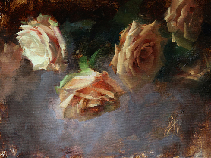 Sadie Valeri,  Pink Roses,  oil on linen, 9x12 in