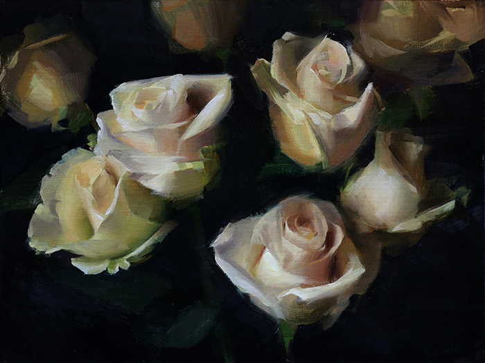Sadie Valeri,  White Roses,  oil on linen, 9x12 in