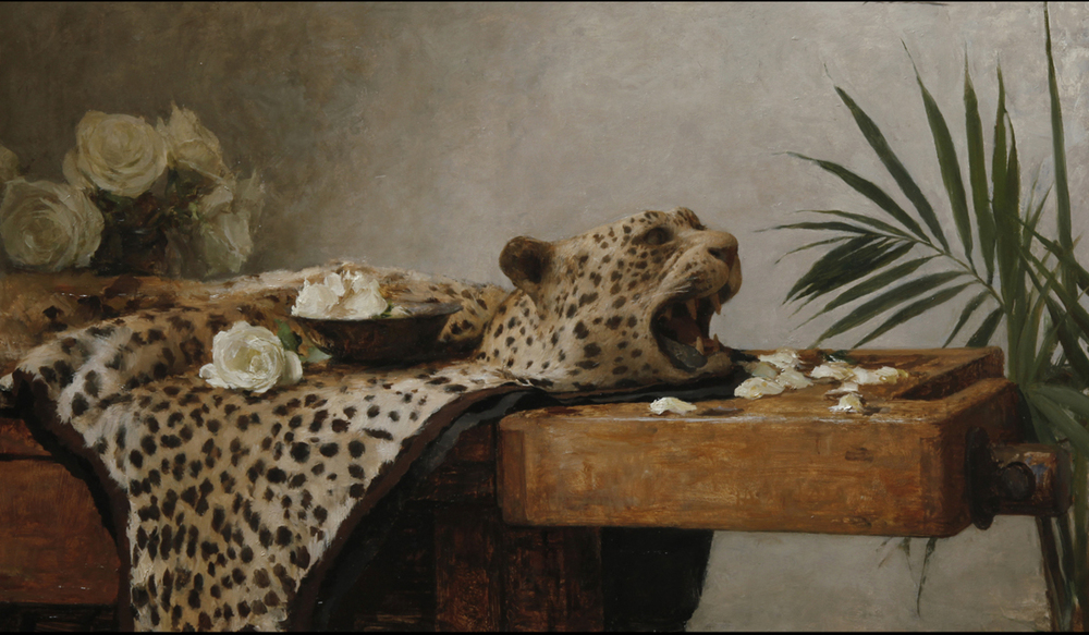 Michael Klein,  Leopard Rug with Roses,  oil on panel, 18x30 in