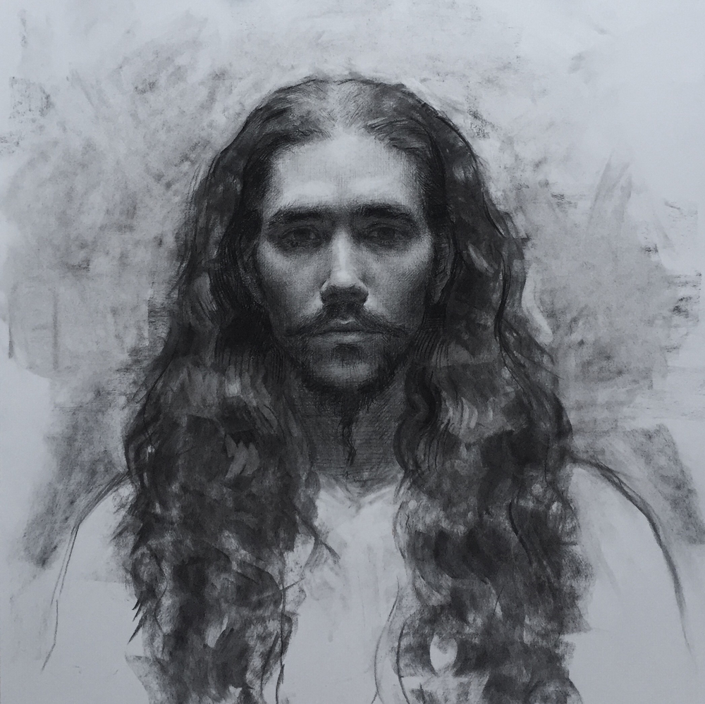 "Patrick Byrnes, ""Ankhkephura"", charcoal on paper, 24x22 in"
