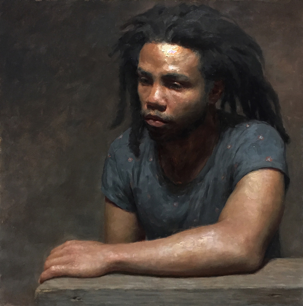 "Patrick Byrnes, ""Lemurian"", oil on panel, 20x20 in"