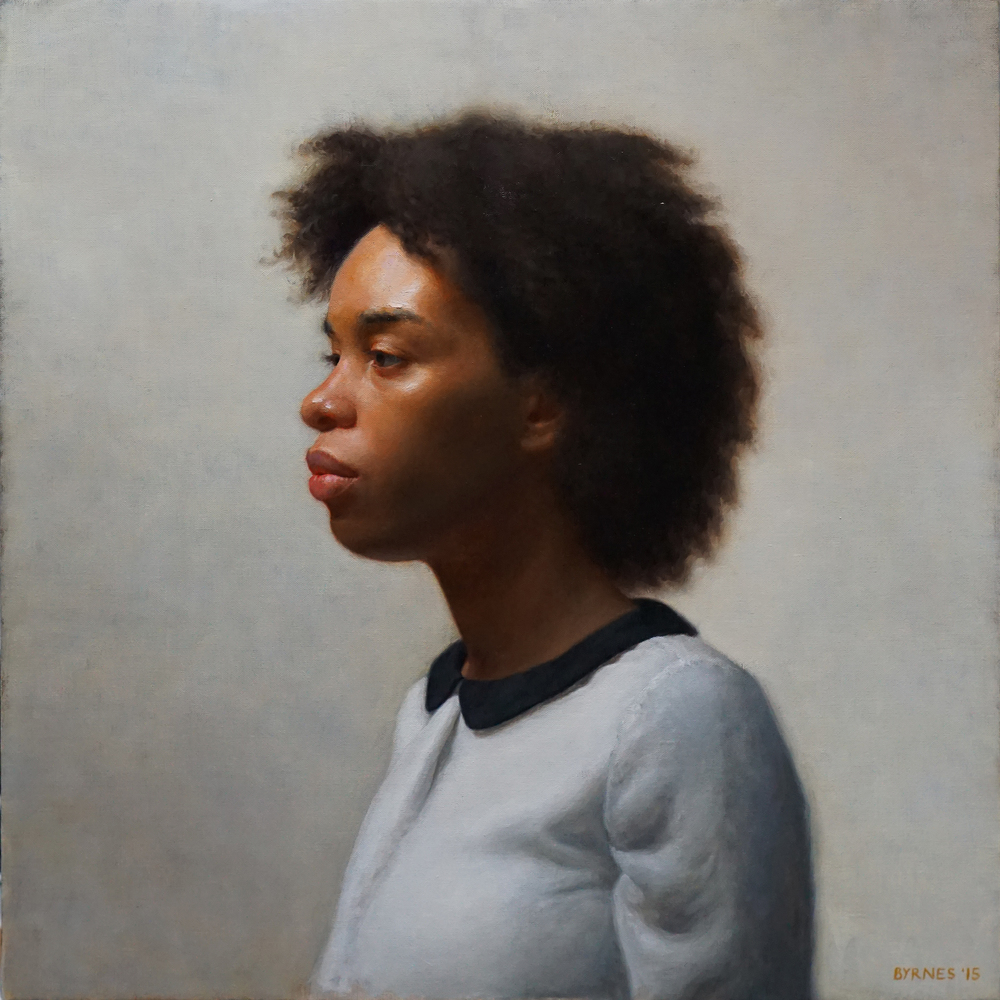 "Patrick Byrnes, ""Keshia in profile"", oil on canvas, 24x24 in"