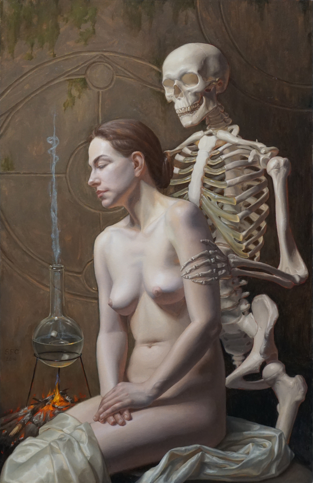 "Sally Fama Cochrane, ""Death and the Maiden"", oil on canvas, 34x22 in"