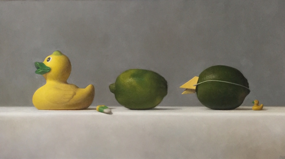 "Samuel Hung, ""Imposters #6: ducks, limes and candy corn)"", oil on panel, 10x18 in"