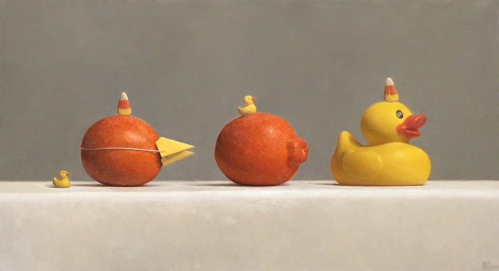 "Samuel Hung, ""Imposters #7: ducks, Minneolas and candy corn)"", oil on panel, 10x18 in"