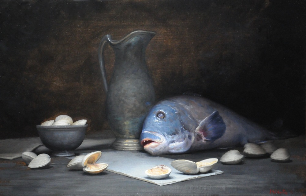 "Brendan Johnston, ""Blackfish and Clams"", oil on linen, 21x36 in"