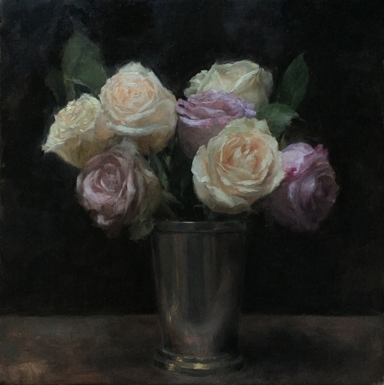 Patrick Byrnes,  Roses in a Pewter Cup