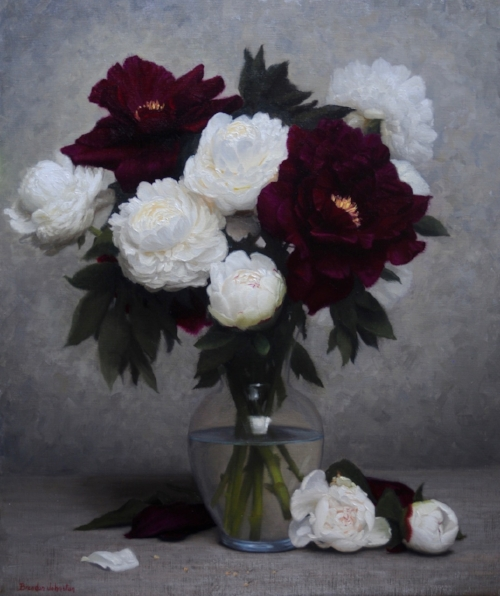 Brendan Johnston   Red and White Peonies Bouquet  26 x 22 in oil on linen