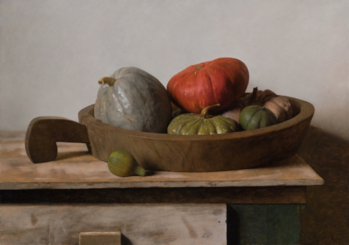 Carlo Russo   Gourds and Rice Bowl  24 x 34 in oil on linen
