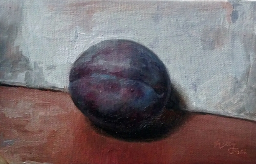 Kelly Foss   Italian Plum  3 x 5 in oil on linen panel