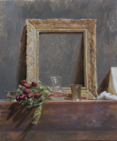 Kevin Müller-Cisneros   Still Life of Frame, Vases, and Dried Roses  28 x 23 in oil on linen