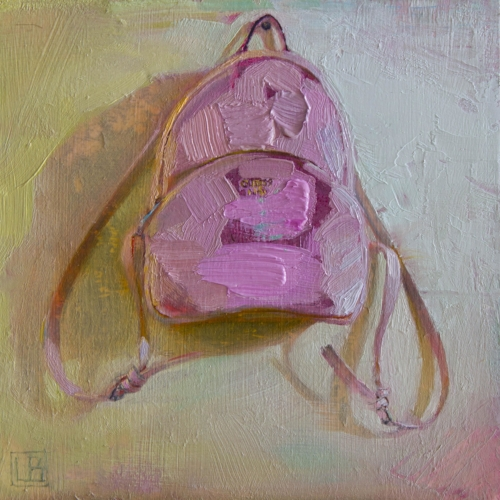 Lucas Bononi   Pink Bag  6 x 6 in oil on panel