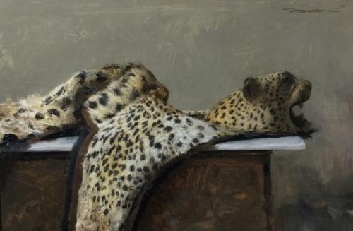 Michael Klein   Leopard  12 x 18 in oil on panel