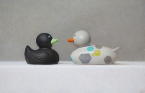 Samuel Hung   Odd Ducks #1  9 x 14 in oil on panel