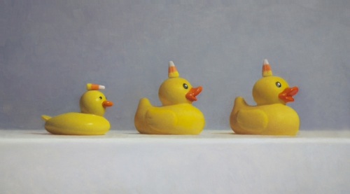 Samuel Hung   Odd Ducks #2  10 x 18 in oil on panel