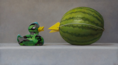 Samuel Hung   I  mposters #14 (camouflage duck and watermelon)  - SOLD   10 x 18 in oil on panel