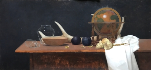 Rodrigo Mateo   Still Life with Globe and Horn   15 x 30 in oil on panel