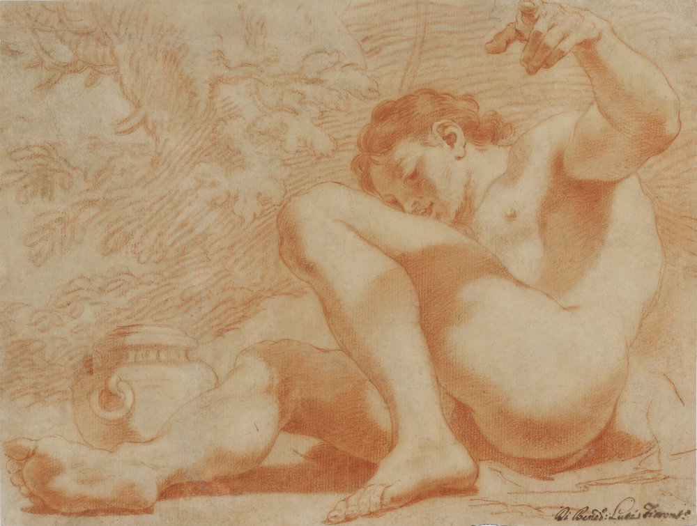 Benedetto Luti  (b. 1666)  Young Man Reclining  10 x 14 ½ in. red chalk on paper