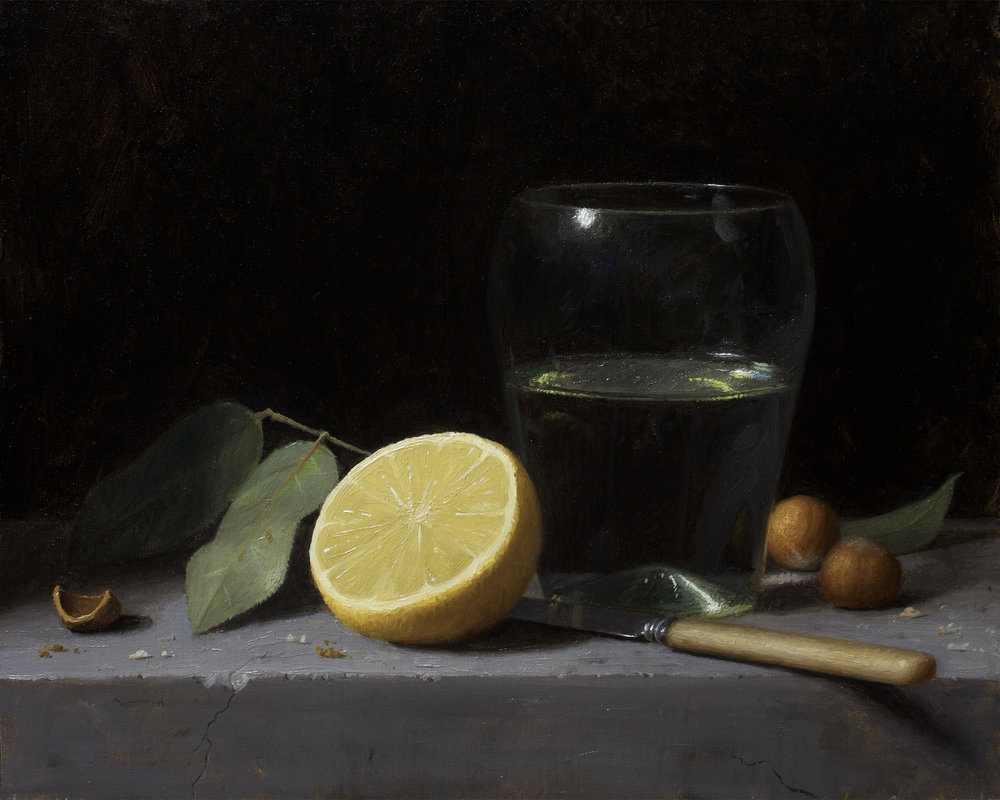 Justin Wood  (b. 1982)  Lemon and Glass Cup , 2018 8 x 10 in. oil on panel
